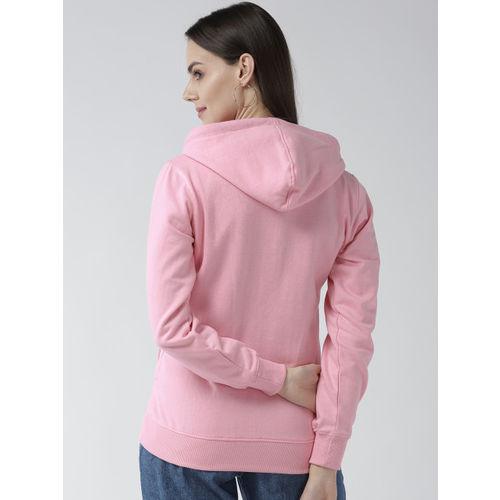 Fort Collins Women Pink Solid Hooded Sweatshirt