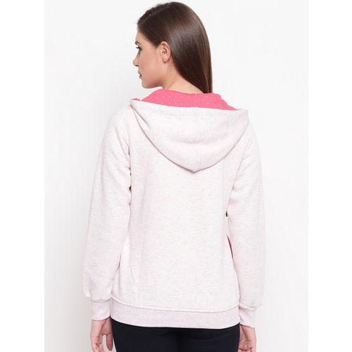 FABNEST Women Pink Solid Hooded Sweatshirt