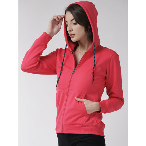 Fort Collins Women Pink Solid Hooded Sweatshirt