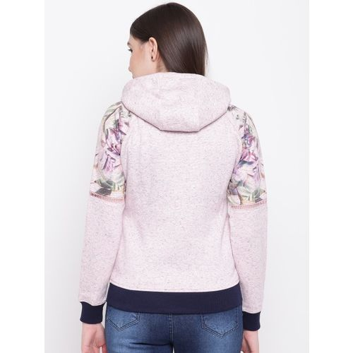Monte Carlo Women Pink Melange Effect Hooded Sweatshirt