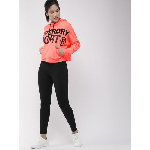 Superdry Sport Women Pink Printed ACTIVE BATWING Hooded Sweatshirt