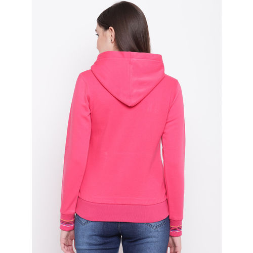 Monte Carlo Women Pink Embroidered Detail Hooded Sweatshirt