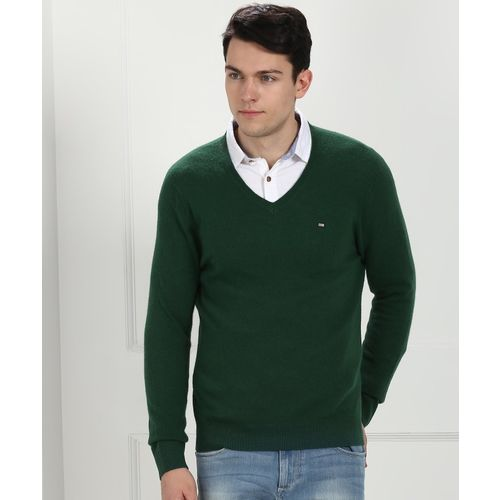 Arrow Sport Solid V-neck Casual Men Green Sweater