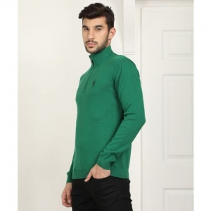 Pepe Jeans Solid High Neck Casual Men Green Sweater