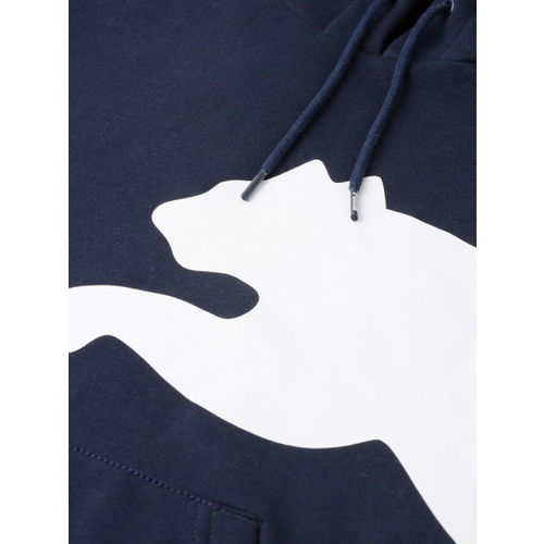 Puma Men Navy Blue Printed Big Logo FL Hooded Sweatshirt