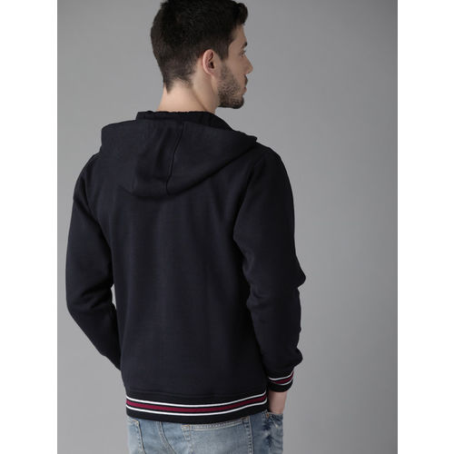 Roadster Men Navy Blue & White Colourblocked Hooded Sweatshirt