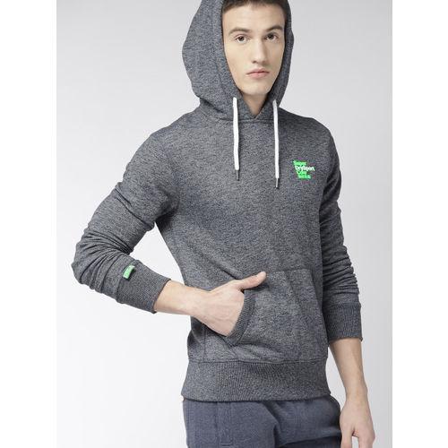 Superdry Men Navy Blue Printed Hooded Sweatshirt