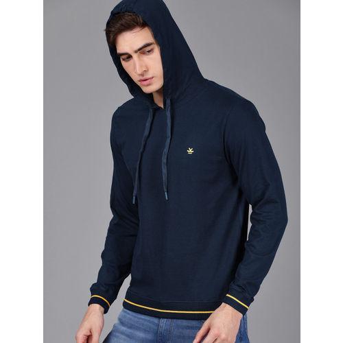 WROGN Men Navy Blue Solid Slim Fit Hooded Sweatshirt