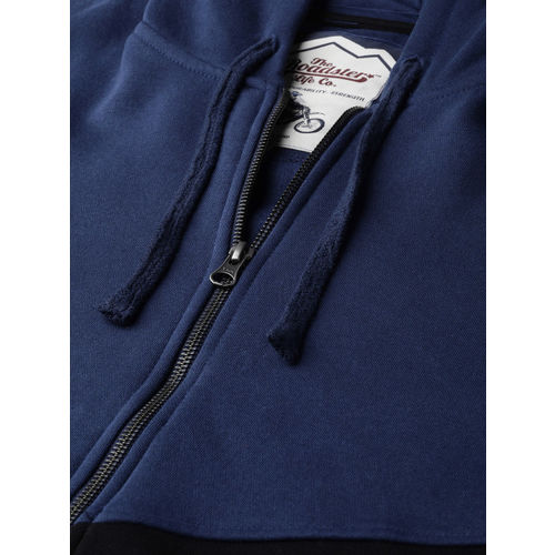 Roadster Men Navy Blue & Black Colourblocked Hooded Sweatshirt