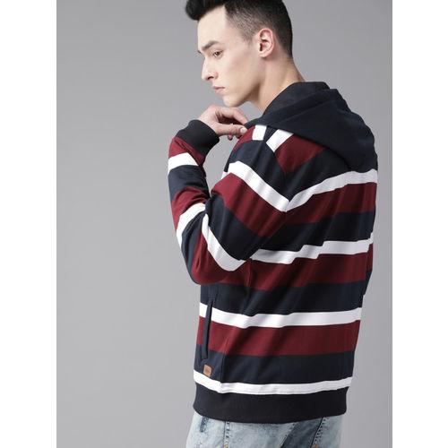 Roadster Men Navy Blue & Burgundy Striped Hooded Sweatshirt