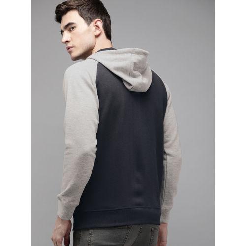 Roadster Men Navy Blue & Grey Melange Self Design Hooded Front-Open Sweatshirt