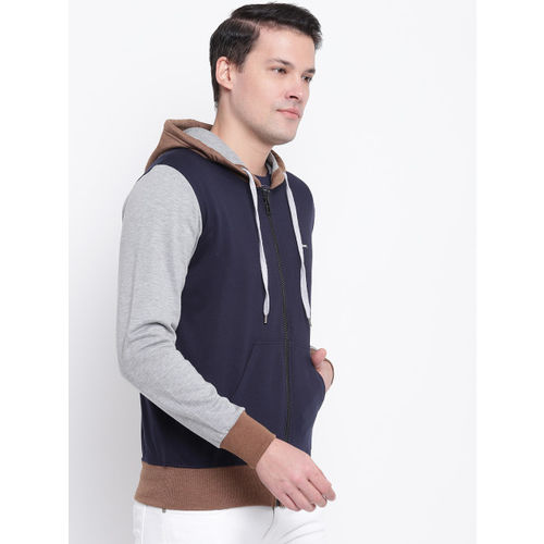 GHPC Men Navy Blue & Grey Colourblocked Hooded Sweatshirt