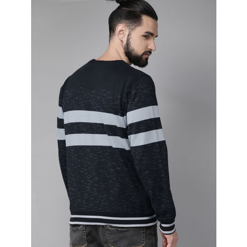 Roadster Men Navy Blue Striped Sweatshirt