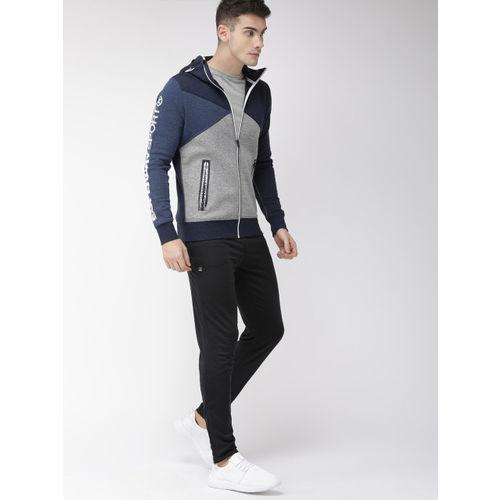 Superdry Men Navy Blue & Grey Colourblocked GYM TECH SPLICED ZIP Hooded Sweatshirt