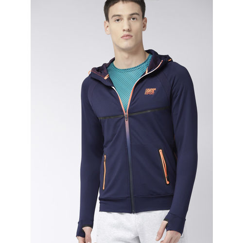 Superdry Men Navy Blue Solid Hooded Front-Open Training Sweatshirt