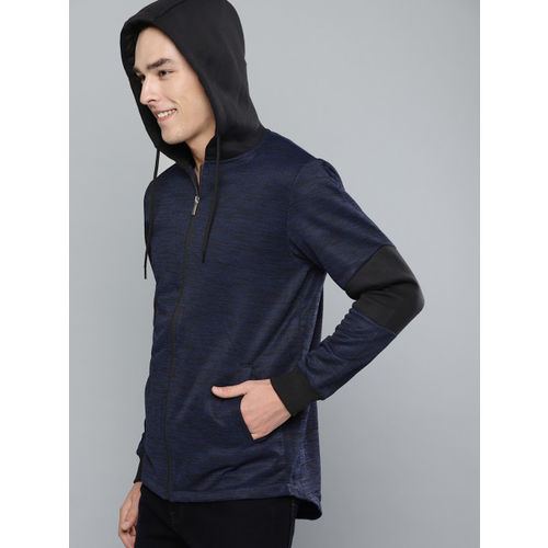 Mast & Harbour Men Navy Blue & Black Slub Effect Hooded Sweatshirt