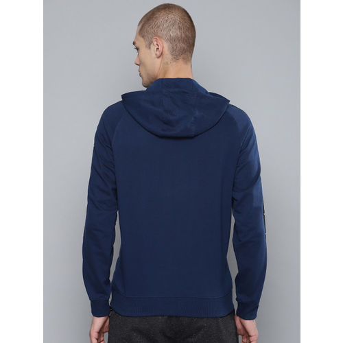 HRX by Hrithik Roshan Men Navy Blue Solid Lifestyle Hooded Sweatshirt