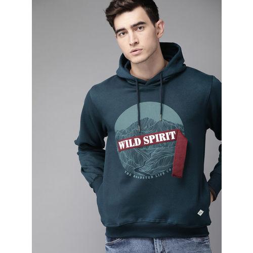 Roadster Men Navy Blue Printed Hooded Applique Pullover Sweatshirt