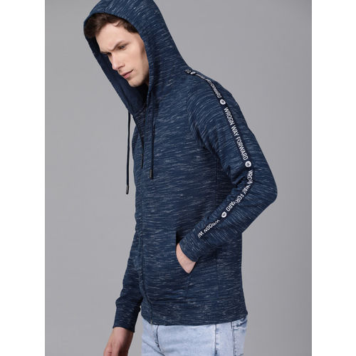 WROGN Men Navy Blue Solid Slim Fit Hooded Sweatshirt