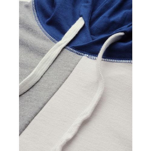 ether Men Navy Blue & Off-White Colourblocked Hooded Sweatshirt