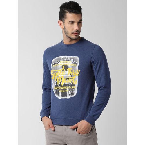 Peter England Men Navy Blue Printed Sweatshirt