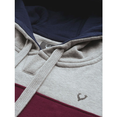 Allen Solly Men Navy Blue & Burgundy Colourblocked Hooded Sweatshirt