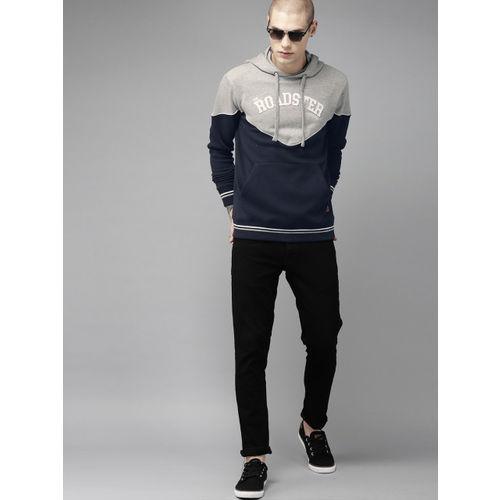 Roadster Men Navy Blue & Grey Melange Colourblocked Hooded Sweatshirt