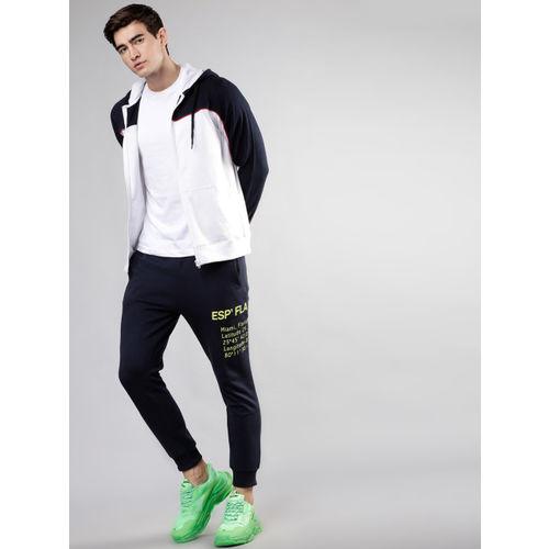 HIGHLANDER Men Navy Blue & White Colourblocked Hooded Sweatshirt
