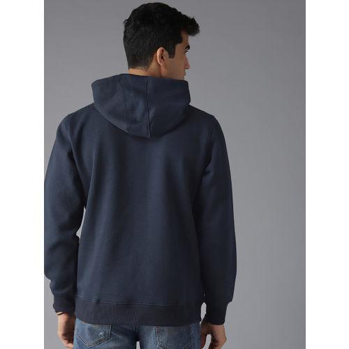 Roadster Men Navy Blue & Grey Printed Hooded Sweatshirt