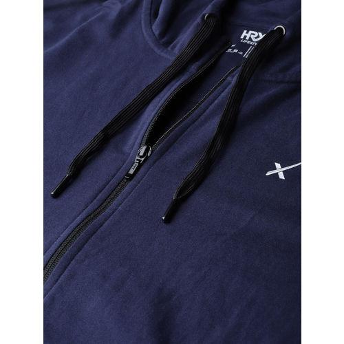 HRX by Hrithik Roshan Men Navy Blue Lifestyle Hooded Printed Sweatshirts
