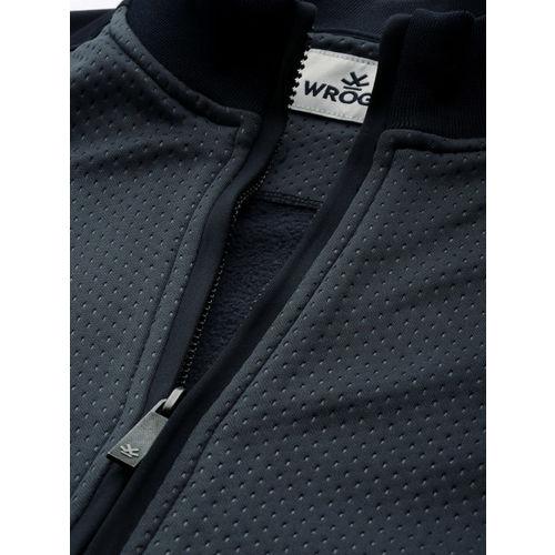WROGN Men Navy Blue Slim Fit Self Design Sweatshirt