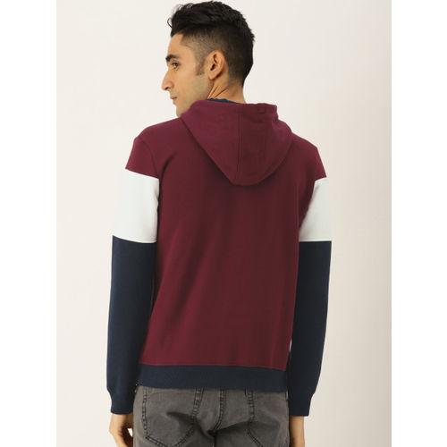 Allen Solly Men Navy Blue & White Colourblocked Hooded Sweatshirt