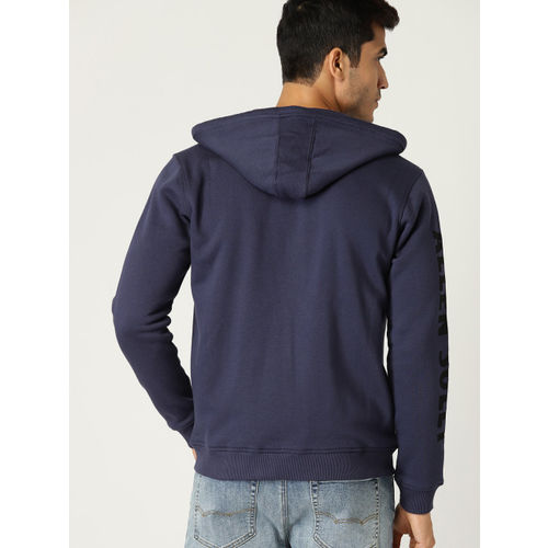Allen Solly Men Navy Blue Solid Hooded Sweatshirt