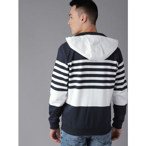 Roadster Men Navy Blue & White Striped Hooded Sweatshirt