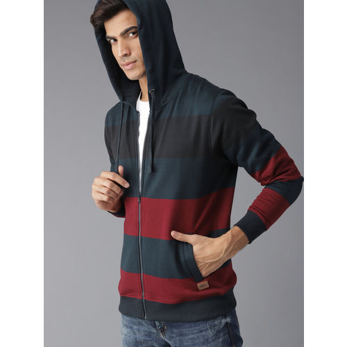 Roadster Men Navy Blue & Maroon Striped Hooded Sweatshirt