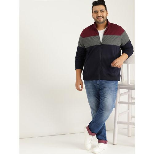 Sztori Men Navy Blue & Charcoal Grey Colourblocked Sweatshirt