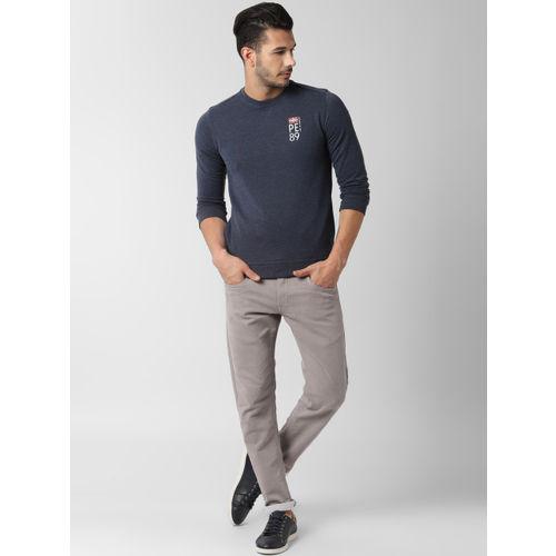 Peter England Men Navy Blue Solid Sweatshirt