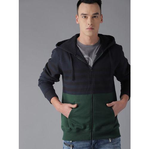 Roadster Men Navy Blue & Green Colourblocked Hooded Sweatshirt