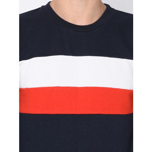 Rigo Men Navy Blue & Red Colourblocked Sweatshirt