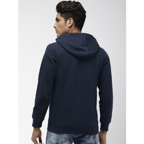 Indian Terrain Men Navy Blue Printed Hooded Sweatshirt