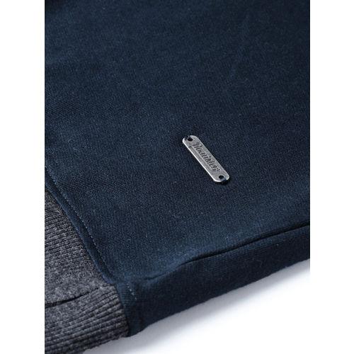 Roadster Men Navy Blue & Charcoal Grey Printed Sweatshirt
