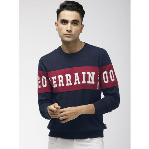 Indian Terrain Men Navy Blue & Red Printed Sweater