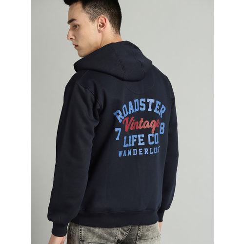 Roadster Men Navy Blue Printed Hooded Sweatshirt