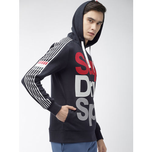 Superdry Sport Men Navy Blue Printed Hooded Athletico Sweatshirt