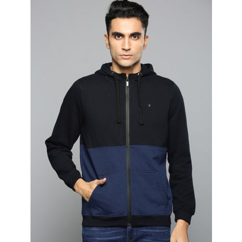 Louis Philippe Jeans Men Navy Blue Colourblocked Hooded Sweatshirt
