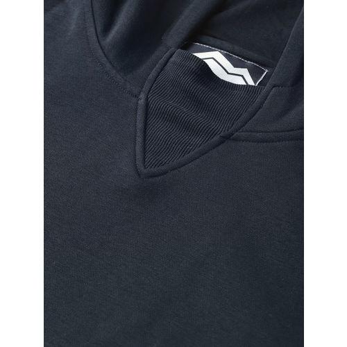 Roadster Men Navy Blue Solid Hooded Sweatshirt