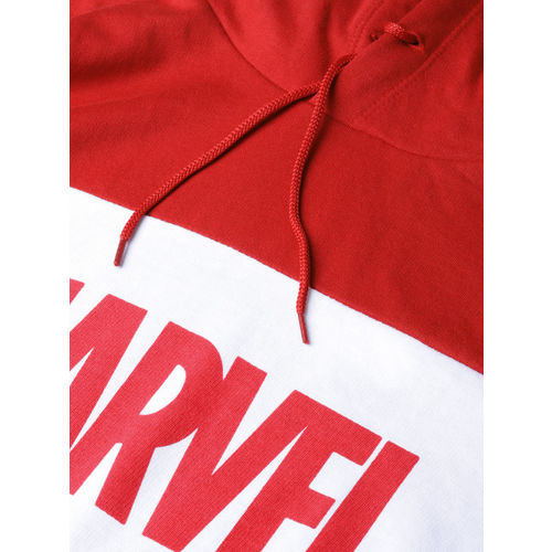 Kook N Keech Marvel Men Navy Blue & Red Colourblocked Hooded Sweatshirt