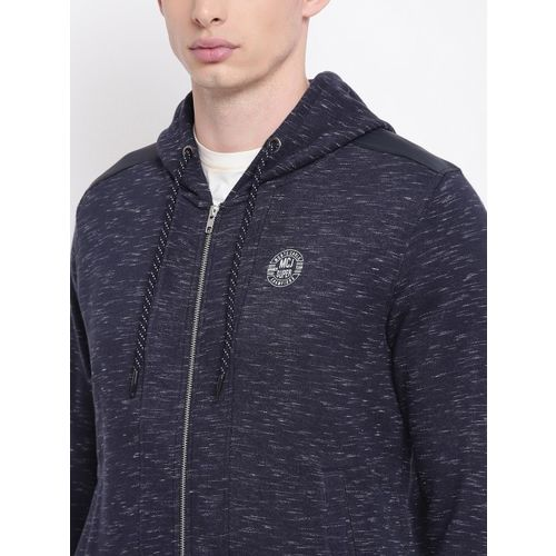 Monte Carlo Men Navy Blue Self Design Hooded Sweatshirt