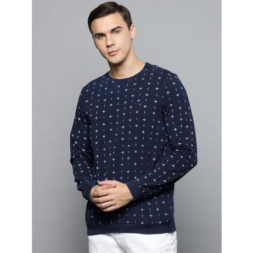 Louis Philippe Jeans Men Navy Blue Printed Sweatshirt