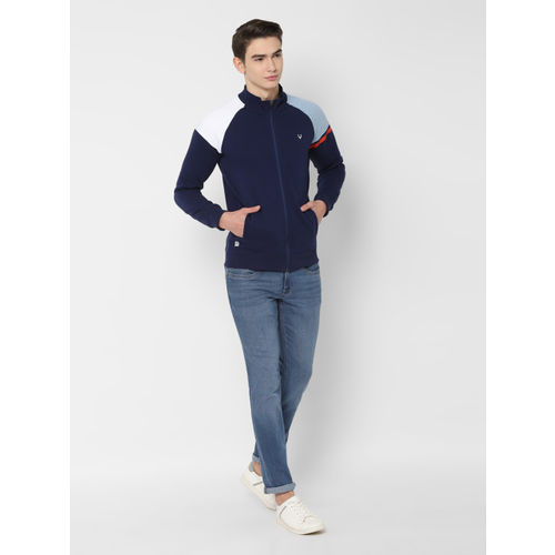 Allen Solly Men Navy Blue Solid Sweatshirt